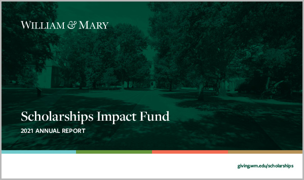 2021 Scholarships Impact Report Cover